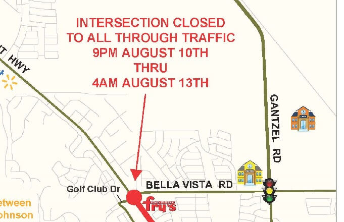 Full Closure on Hunt Hwy and Bella Vista Rd/Golf Club Dr Aug 10-13