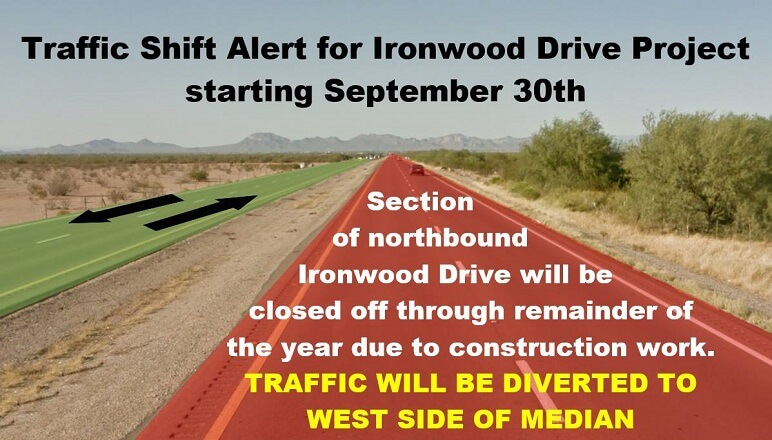 Traffic Shift on Ironwood Begins Sept 30th